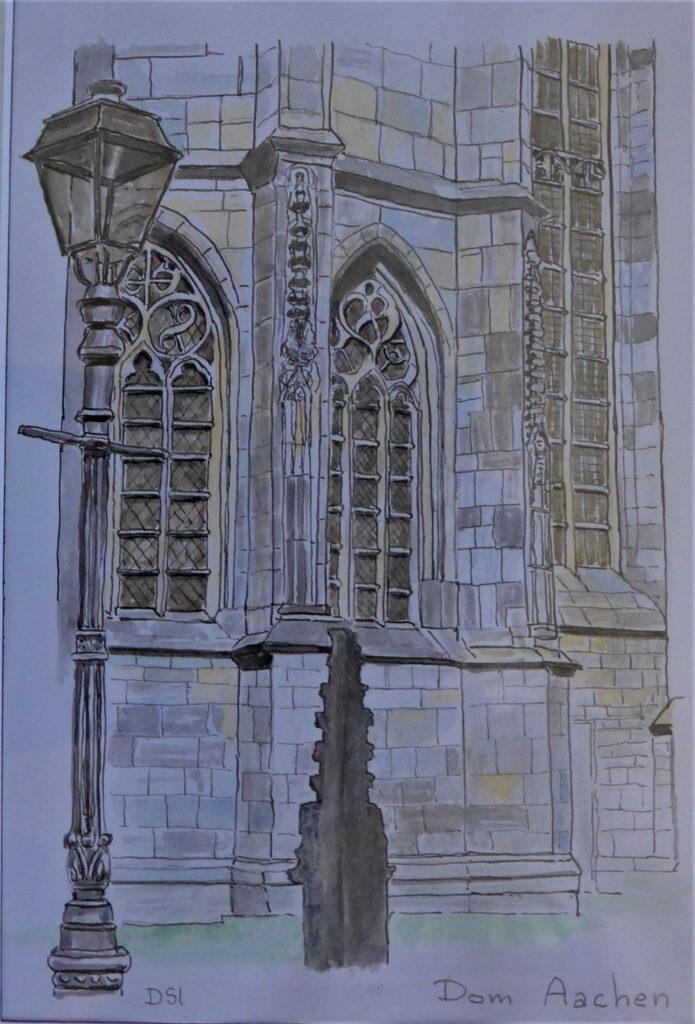 Dick Slothouwer-Dom in Aken-Pentekening en aquarel