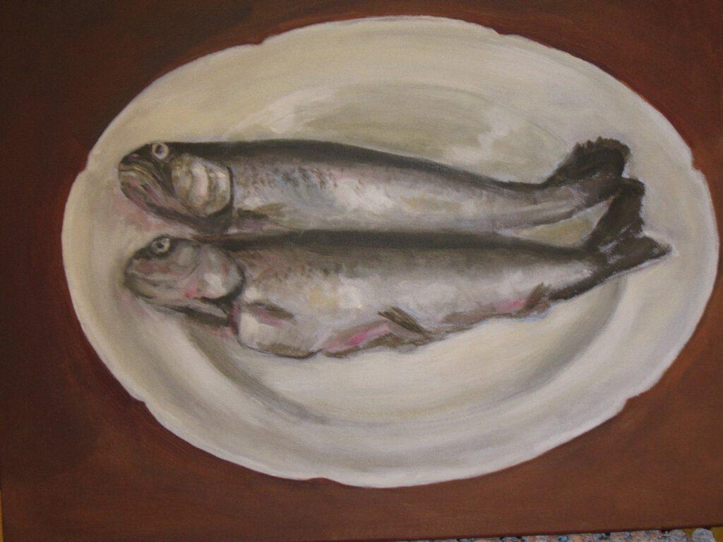 Dick Slothouwer-Forellen op bord-Olieverf