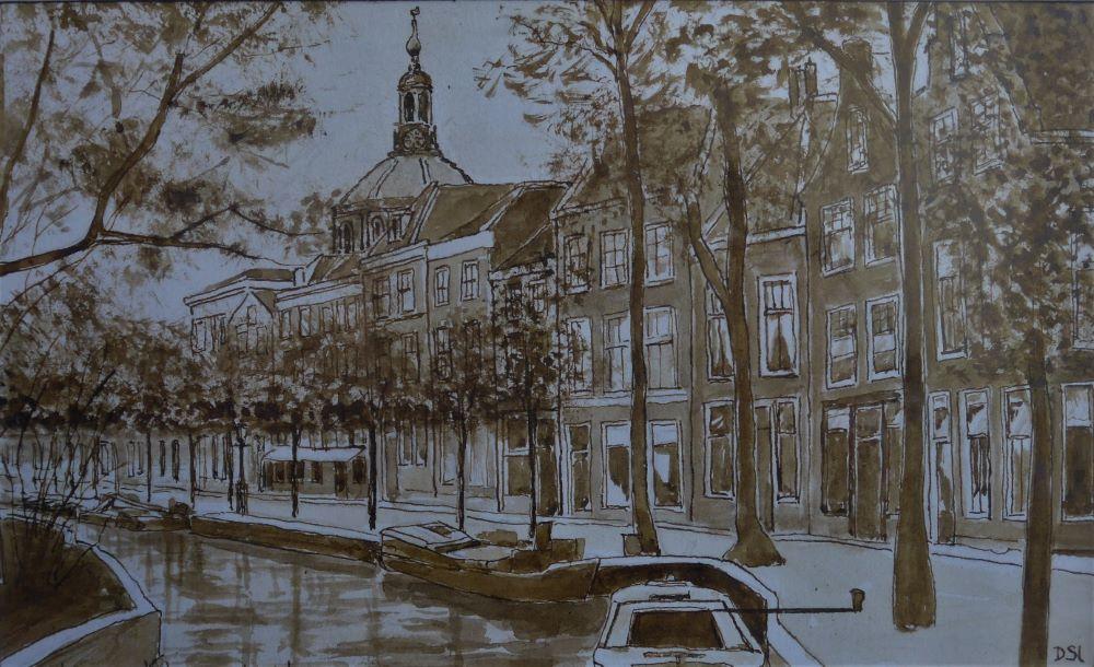 Dick Slothouwer-Mare in Leiden omstreeks 1950- Gewassen pentekening