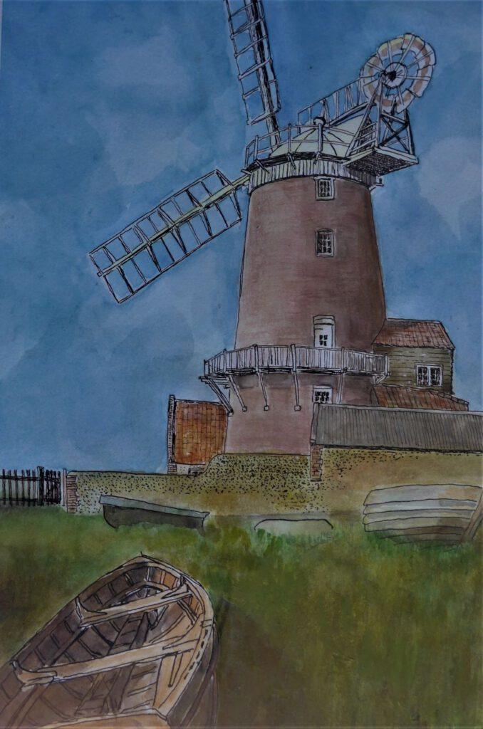 Dick Slothouwer-Molen in Norfolk (Engeland)-Aquarel en acryl