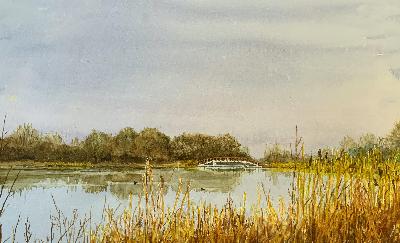 Werk van lid van vereniging voor tekenen, schilderen en aquarelleren Het Gelders Palet in Wageningen: Elsbeth Tanja-Wagenings Water-aquarel