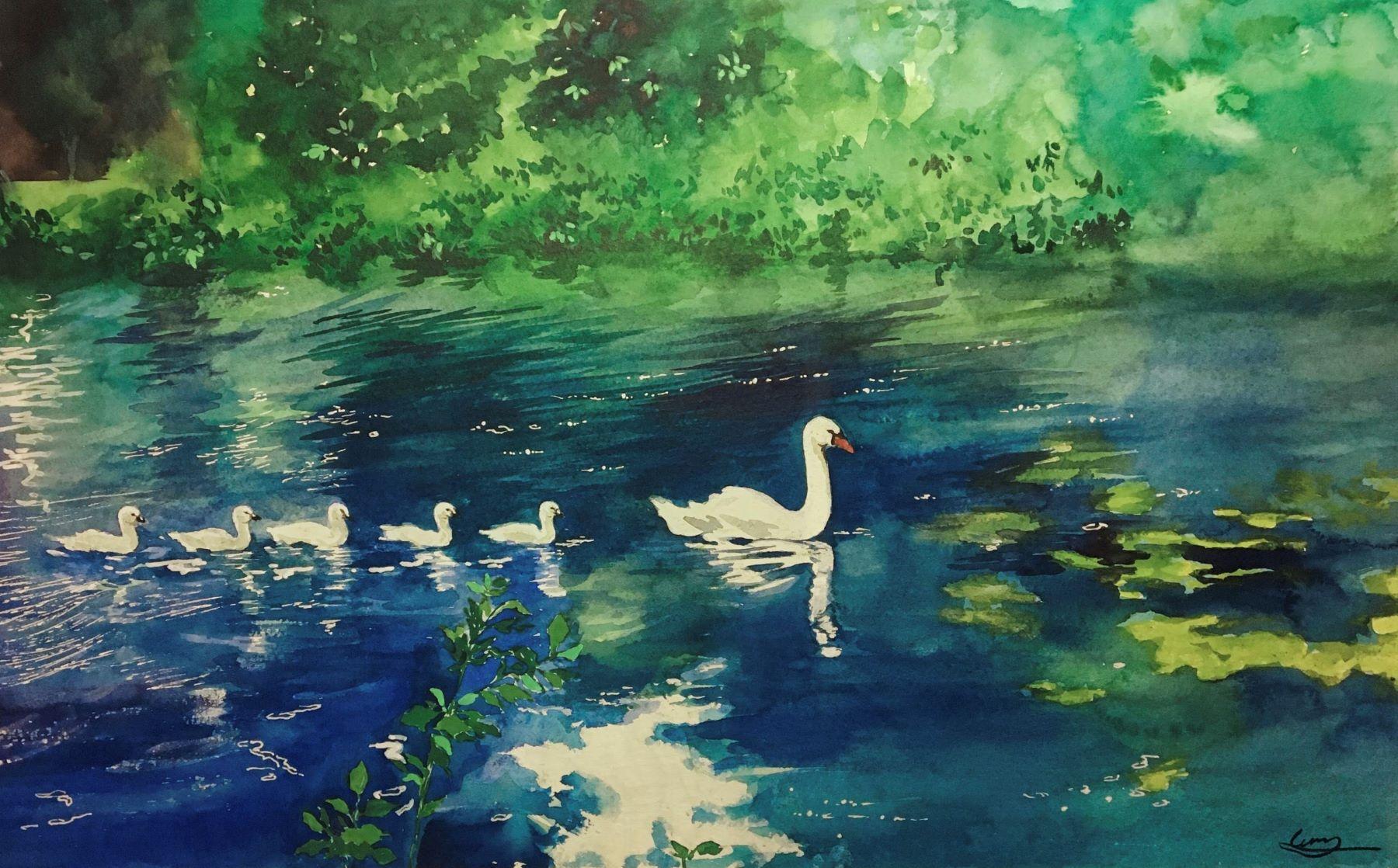 Lu Zhang-Swimming lesson-watercolor