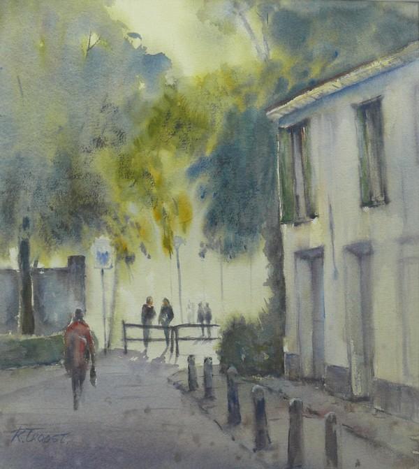 Ria Klompmaker-Molenstraat Wageningen-aquarel