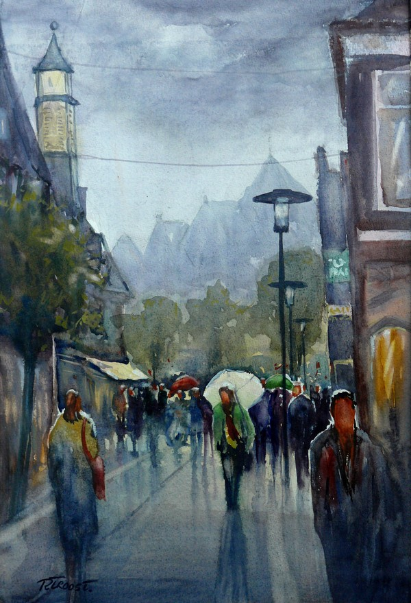 Ria Klompmaker-Regendag Hoogstraat Wageningen-aquarel