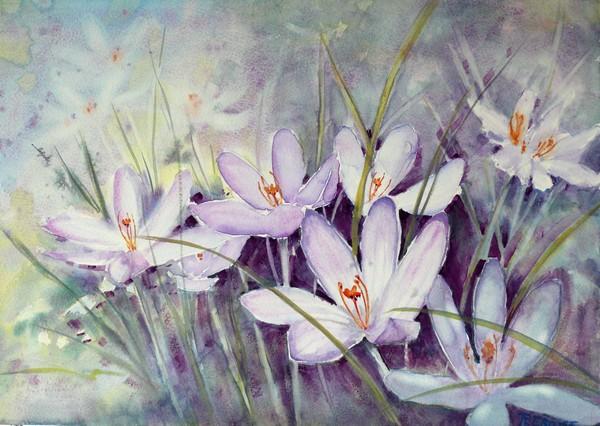 Ria Klompmaker-Violet dream-aquarel
