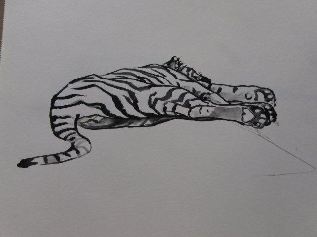 Ans Koenders-tijger-plakkaatverf