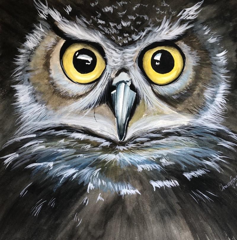 Chunfeng Gu-Owl-watercolor+acrylic-Study, reference from Maria Raczynska