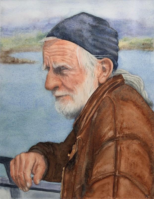 Ina Augustijn-onderweg naar Cape Clear Island-aquarel