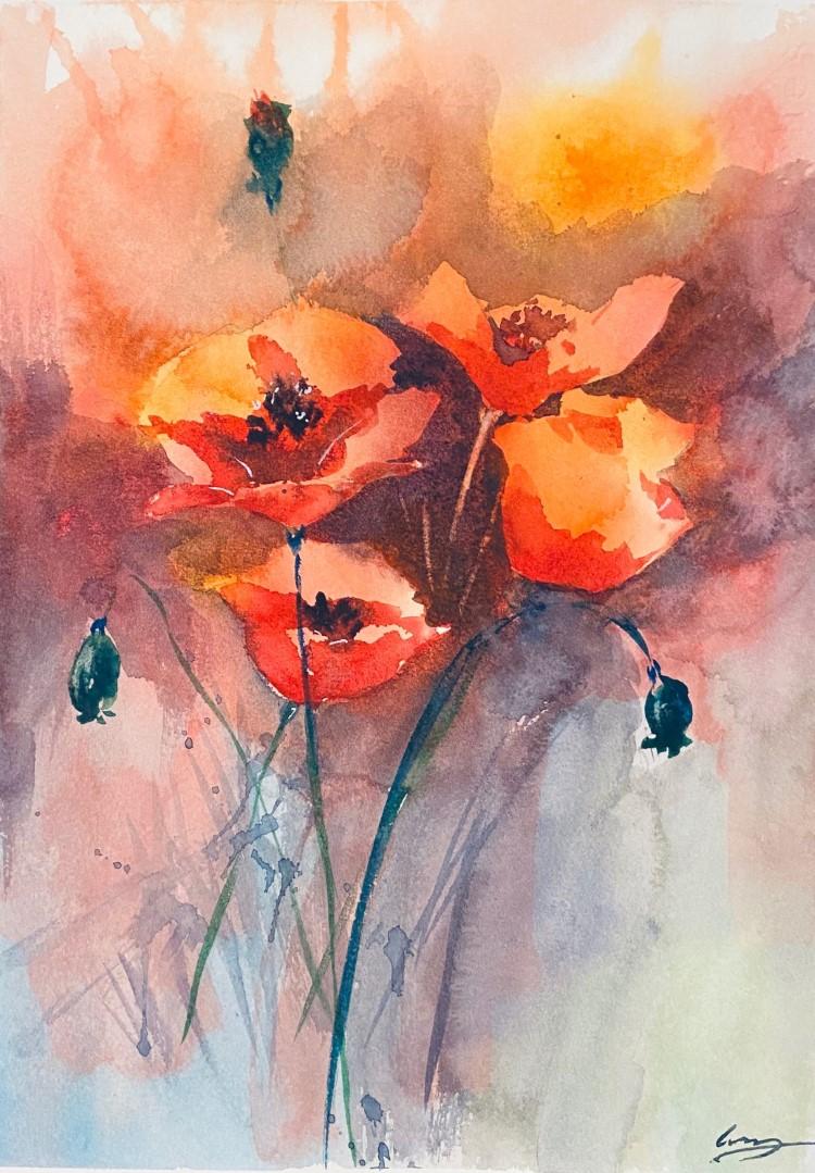 Lu Zhang-Poppy-watercolor