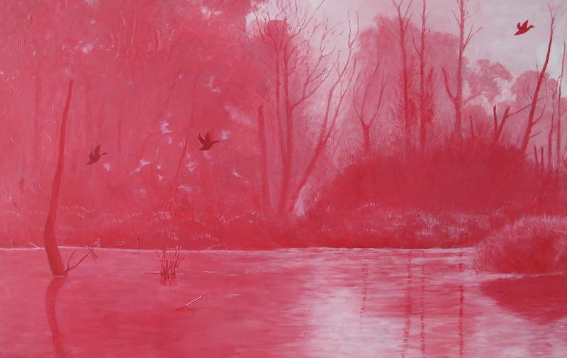 Henk Voorbij-Blaauwe Kamer in Rood-acryl