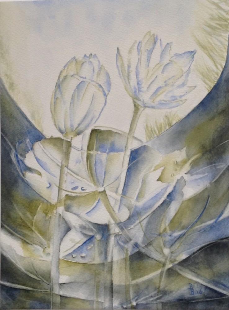 Bep Buijink-Waterlelie-aquarel